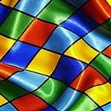 Multi Coloured Harlequin Diamonds Blues Satin Fabric Per Metre