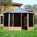 Outsunny Alu Gartenhaus Haus Gartenpavillon Pavillon Partyzelt Zelt Garten 4x4m Dach