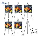 63'' Tall Display Easel, Folding Instant Poster Easel, Black Steel Metal Telescoping Art Easel for Display Show, Easy Assembly (6Pack) (Color: Black, Tamaño: 6Pack)