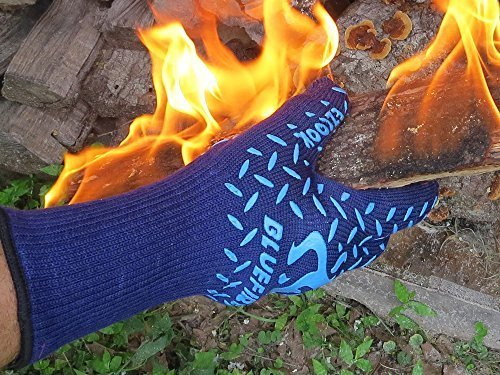 BlueFire Pro Extreme Protection Cooking & Grilling Gloves (Pair) - Designed by Real Cooks! - Made of Materials That Fire Fighters Wear 75% Kevlar & Aramid - 932?F Heat Resistant - Cut Resistant Forearm Protectant BBQ Gloves / Oven Mitts / Grill Gloves by EZcook [並行輸入品]