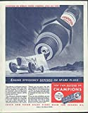 Engine efficiency depends on Champion Spark Plugs ad 1938 Ab Jenkins Helck art
