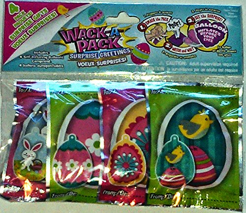 Easter Egg Wack-a-pack Balloon Surprise! 1 Package of 4 Self-inflating Foil Balloons- Various Designs