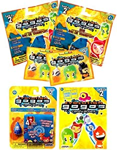 Crazy Bones Gogo's 2 Series 2 BAGS + 2 Booster Packs with Blister Pack & Sticker Album / Game Rules Book [23 Crazy Bones, 9 Stickers & 2 Carry Bags] by Magic Box Int.