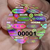 "70 Transparent Round Stickers Protective Security Holograms ""Seal and Protect"" Tamper Evident With Serial Numbers 1"" (25 mm)"