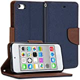 iPod 5 Case, GMYLE Wallet Case Classic for ipod Touch 5th Generation - Blue and Brown PU Leather Stand Cover