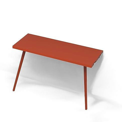 Tavolo Consolle a parete Allungabile - Struttura Rosso con Piano Rosso Dimensioni 110×45 cm. Allungabile fino a 110 x 90