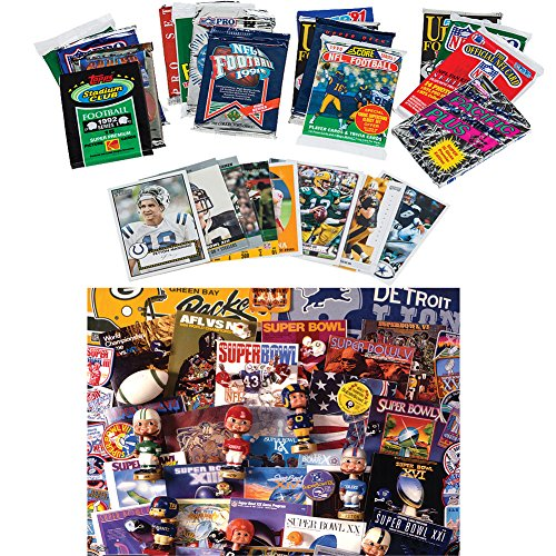 (Set) NFL Super Bowl 50th Anniversary Football Trading Cards & Jigsaw Puzzle (1000 Nfl Cards compare prices)