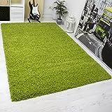 Moderner Hochflor Shaggy Teppich Hoher Flor Uni Farbe in Grün