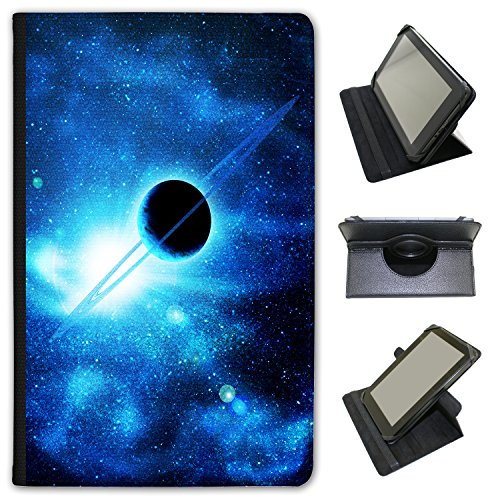 planet-with-rings-saturn-in-blue-space-universal-faux-leather-case-cover-folio-for-the-kobo-aura-one