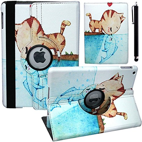 For Ipad Air Ipad 5 Dormant 360 Degree Rotating Folding Stand Cartoon Leather Case Cover Cat Kissing Fish