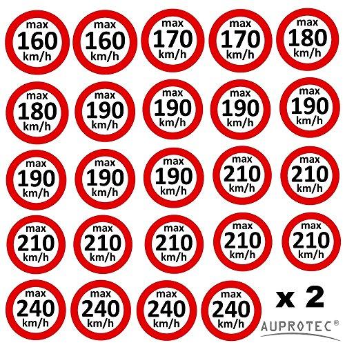 Auprotec® Kundendienstaufkleber Autocollant limitation de vitesse Pneu d'hiver autocollants 160–240kmKM/hH Choix?: