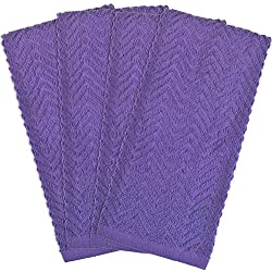 "DII 100% Cotton, Basic Everyday Kitchen, Heavy Duty, Drying & Cleaning, 16 x 28"" Zig Zag Weave Dishtowel, Set of 4- Neon Purple"