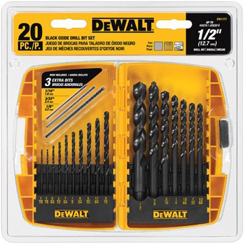 DEWALT DW1177 20-Piece Black-Oxide Metal Drill Bit Set (Drill Bit For Metal compare prices)