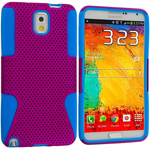 Cell Accessories For Less (Tm) Baby Blue / Hot Pink Hybrid Mesh Hard/Soft Case Cover For Samsung Galaxy Note 3 N9000 // Free Shipping By Thetargetbuys front-851901