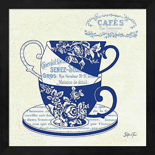 Blue Cups III by Stefania Ferri Fine Art Print with Wood Box Frame and Glass Cover, 13 x 13 inches