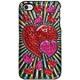 Amzer 3D Metallic Snap On Case Cover for iPhone 4 and iPhone 4S - Retail Packaging - Red Hearts