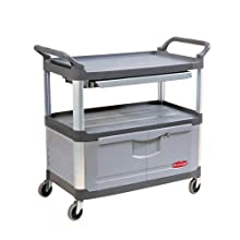 Rubbermaid Commercial FG409400GRAY HDPE Service Cart with Lockable Doors and Sliding Drawer