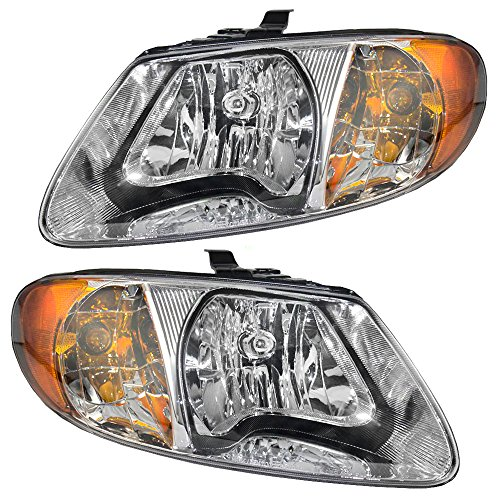 Driver and Passenger Headlights Headlamps Replacement for Dodge Chrysler Van 4857701AC 4857700AC (Dodge Chrysler compare prices)