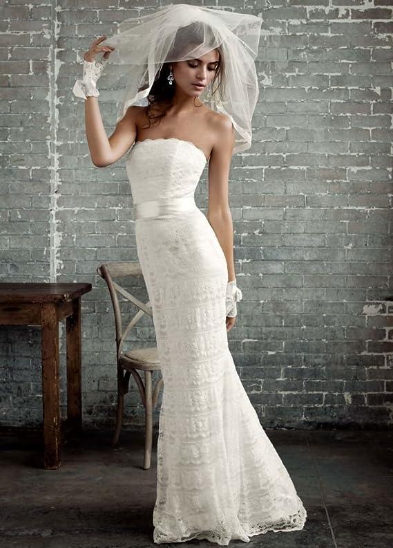 SAMPLE Wedding Dress Beaded Lace Sheath with Godet Inserts Style AI16020088