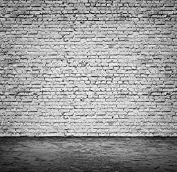 Yelewen 10x10ft White Brick Wall & Black Floor Thin Vinyl Customized Digital Printed Photography Backdrop Prop Photo Background