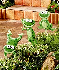 Set Of 3 Metal Frog Garden Stakes Patio
