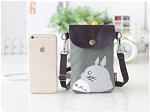 Abaddon Canvas Small Cute Crossbody Cell Wallet Bag Phone Purse with Shoulder Strap (greem totoro)