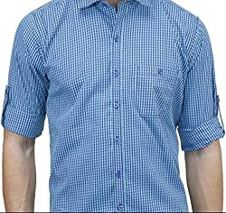 UNIXX Men's Casual Shirt (UXXS-03_Blue_40)