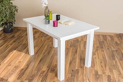 table au bois du pin massif laqué en blanc Junco 240A - dimensions 75x 80 x 120 cm