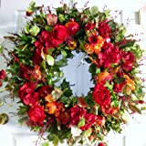 Red Apples and Red Roses Handcrafted Fruit and Floral Wreath (20-22 inch)