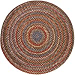 Super Area Rugs, Gemstone Textured Braided Indoor / Outdoor Rug Durable Red Kitchen Carpet, 8 Round