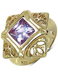 Suraabi 3.60CTW Purple Cubic Zirconia 14K Yellow Gold Plated Brass Ring For Women