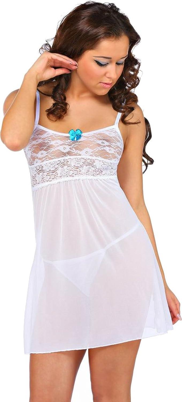 jowiha® Neglige Dessous Set in Weiß mit Spitze Cup B Einheitsgröße S-M/L