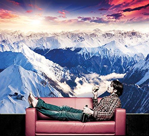 affiche panoramique d alpes d coration de peinture murale d hiver de neige et de coucher du. Black Bedroom Furniture Sets. Home Design Ideas