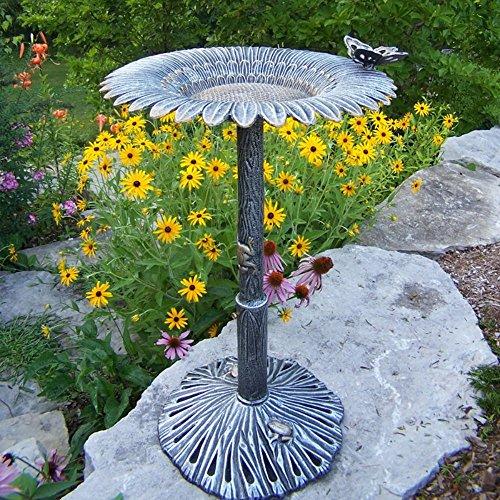Oakland Living Sunflower Butterfly Bird Bath, Antique Pewter