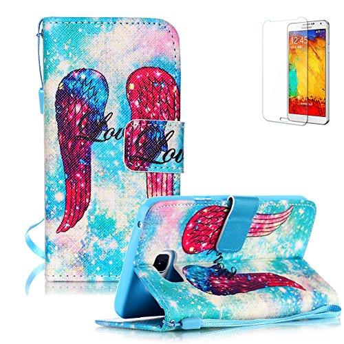 Coque Housse Etui pour Samsung Galaxy S6 Edge Plus - Funyye Samsung Galaxy S6 Edge Plus Lanyard Strap Sangle Flip Cuir Wallet Coque Cover