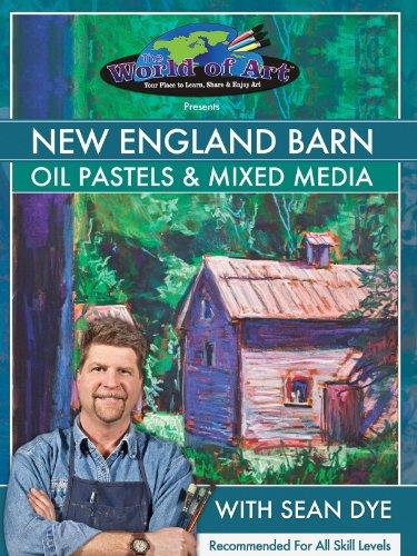 New England Barn: Oil Pastels & Mixed Media