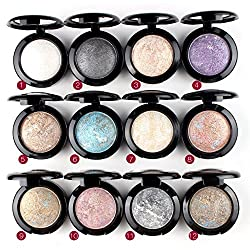 Mallofusa Makeup Single Baked Eye Shadow Powder Palette in Shimmer 12 Metallic Colors Optional from MALLOFUSA