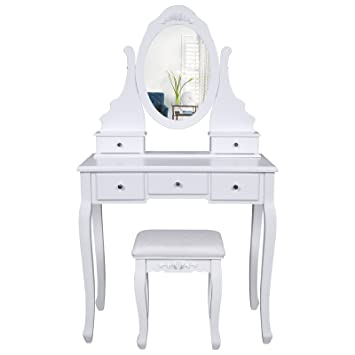 Songmics Tocador Blanco con Espejo Taburete y Cajones Mesa de maquillaje RDT09W