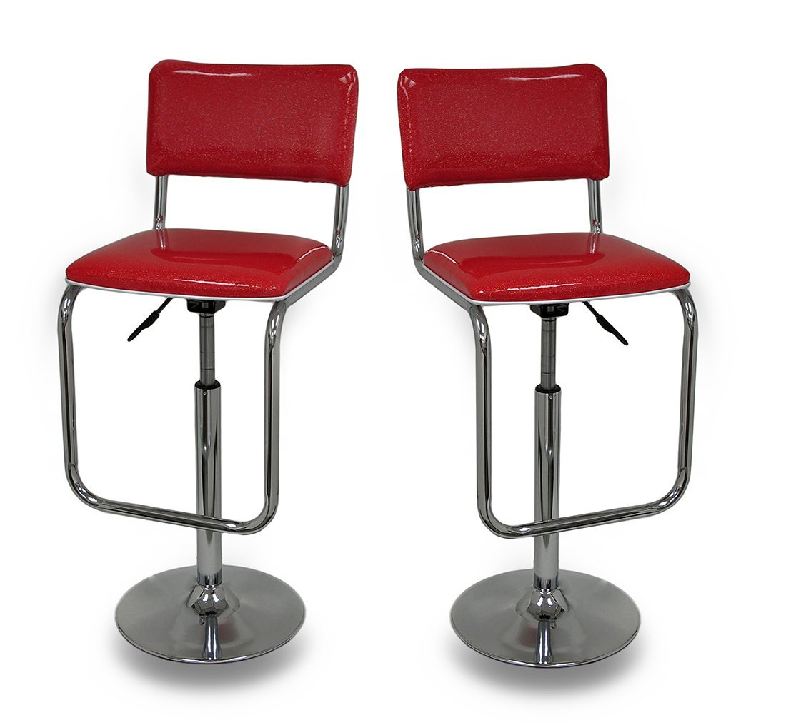 Red Glitter Retro Design Adjustable Swivel Diner Style Bar Stool Set of 2 0