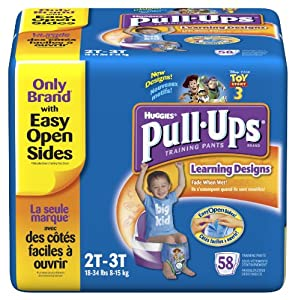 Huggies Pull-Ups Training Pants with Learning Designs, Boys, 2T-3T, 58 Count