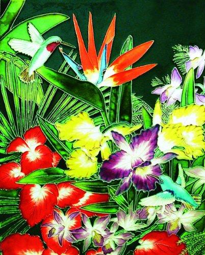 Colorful Tropical Bouquet Flowers 11x14x0.25 inches Ceramic Art Tile