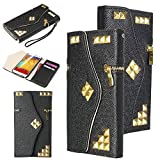 Note 3 Case,ULAK Note 3 Wallet Case PU Leather Galaxy Note 3 Flip Cover with Foldable Card Slots for ID.Credit Cards - Fashion Metal Zipper Studded Purse Design Flip Case for Samsung Galaxy Note 3 N9000 -Black