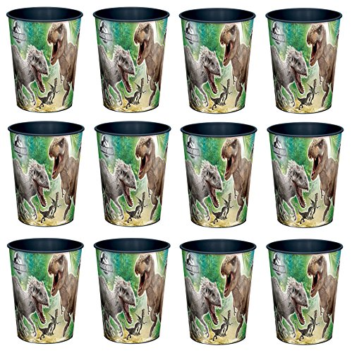 Universal Studio Jurassic World T Rex 16oz Party Plastic Cup ~Party Favor Supplies~ by Disney by BirthdayExpress (pack of 12)