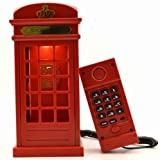 Vintage London Telephone Booth,Table Light Landline Corded Phone Bedroom Home Decoration Electronics Led Touch Sensor