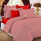 Story@Home 208 TC 100% Cotton Red 1 Single Bedsheet with 1 Pillow Cover