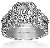 Platinum-Plated Sterling Silver Swarovski Zirconia Wedding Ring Set