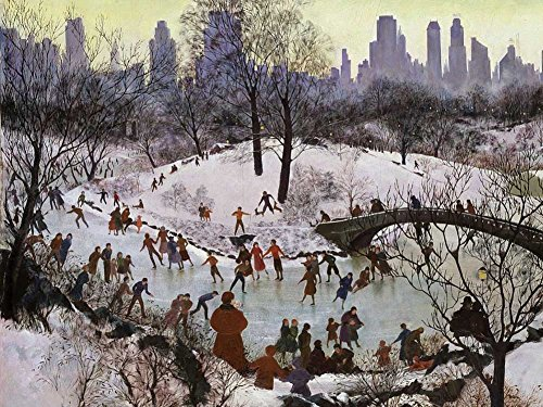 Agnes Tait - Skating in Central Park (1934) - Art Print on Canvas (28x20 inches, unframed)