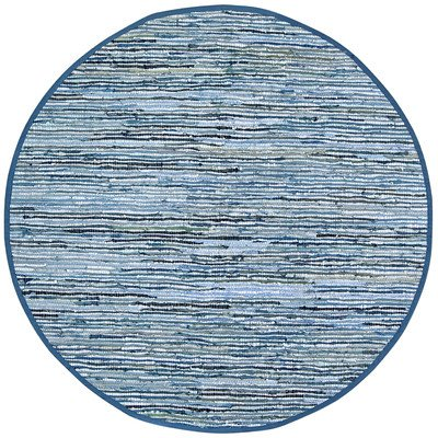 Matador Leather and Denim Dhurry Round Rug, 8 by 8-Feet, Blue