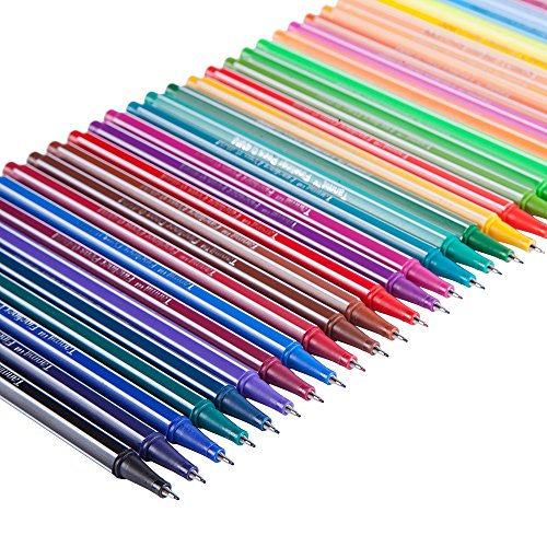 Tanmit Fineliner Color Pens Set - 0.4 mm Felt Tip Pens, 36 Pack Colored Markers Fine Line Pen - Unique & Vivid Ink Perfect for Drawing, Sketching, Artists and Coloring, Small Pictures Especially