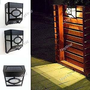 Solar Powered 2-LED Light Control Solar Light Garden Fence Wall Lamp HSI-298045 - Warm White